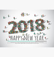 2018 happy new year crowd big group people vector image
