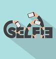 Smartphone In Hands Selfie Typography Design vector image