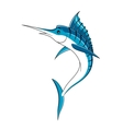 Jumping cartoon blue marlin fish vector image vector image