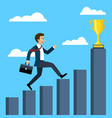 businessman running to the trophy vector image