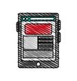 color crayon stripe cartoon tablet technology vector image