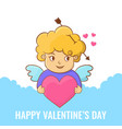 happy valentines day angel with heart vector image