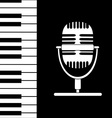 Music background with keyboard and microphone vector image