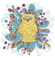 owl and leaves vector image