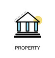 Property icon and building on white background vector image
