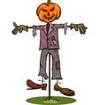 halloween scarecrow cartoon vector image vector image