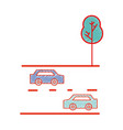 cars transportation in the double via road and vector image vector image