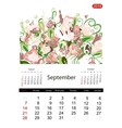 Floral calendar 2014 september vector image