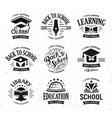 school logos set monochrome vintage design vector image