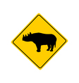 Black rhino warning sign vector image