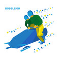 bobsleigh cartoon athletes running near bobsled vector image