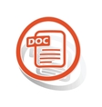 DOC document sign sticker orange vector image