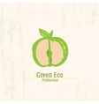 Green apple logo in grunge style on rustic vector image