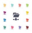 net folder flat icons set vector image