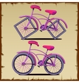 Set of bicycle with round and square wheels vector image