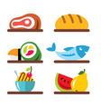 set of various food flat style colorful vector image