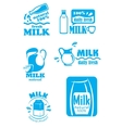 Set of milk labels vector image vector image