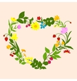 Floral heart frame with flowers and berries vector image