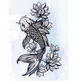 Hand drawn fish Koi carp with flowers vector image vector image