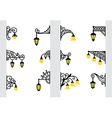 Decorative stylized wall lanterns vector image