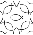 Christian fish icon pattern on white background vector image