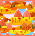 autumn seamless pattern with trees mountains and vector image