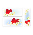 banners with hearts and flowers vector image