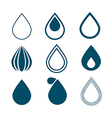 Blue Water Drops Symbols Set Isolated on White vector image