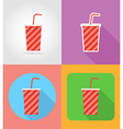 fast food flat icons 02 vector image