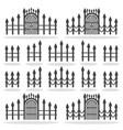 fence gates icon set symbol vector image