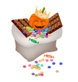Jack-o-Lantern Pumpkins with Candies and Chocolate vector image