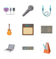 sound dj icons set cartoon style vector image
