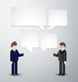 Two man speak blank bubbles vector image