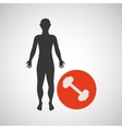 silhouette man fitness weight vector image