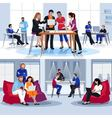 Coworking People Flat Compositions vector image
