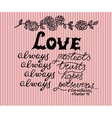 Hand lettering Love always made next to the vector image