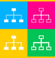 site map sign four styles of icon on four color vector image