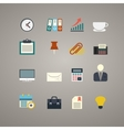 flat business and office icons set vector image