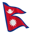 political waving flag of nepal vector image vector image
