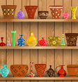 modern vases and floral pots for sale on shelves vector image vector image