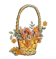 Basket with red flowers vector image