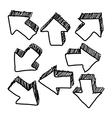 hand drawn doodles of 3D arrow sketchy design vector image