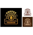Premium Coffee label or badge vector image