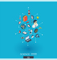 science integrated 3d web icons digital network vector image