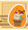 birthday card with funny girl perched on cupcake vector image