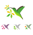 Hummingbird and flower icons vector image