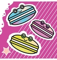 Kawai sweet cartoon funny Macaron on a pink vector image