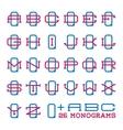College sport team logo set Two letters monogram vector image