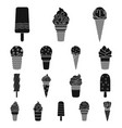 different ice cream black icons in set collection vector image