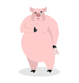 Pig thumbs up well and winks Signs all right vector image